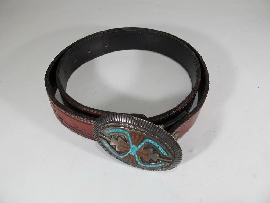 Vintage Navajo made sterling, turquoise & leather belt
