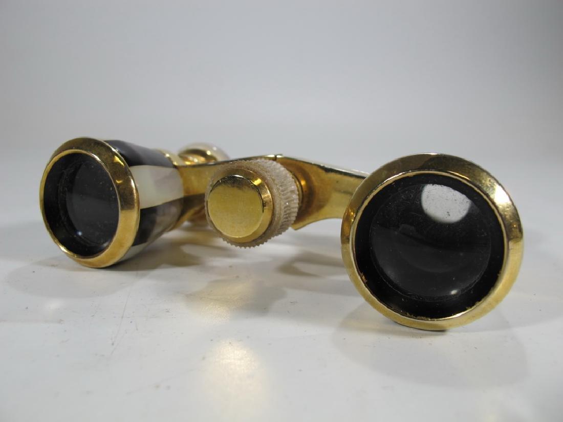 Vintage golden & mother of pearl opera glasses - 3