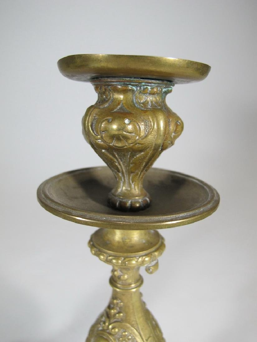 Antique pair of French bronze candlesticks - 2