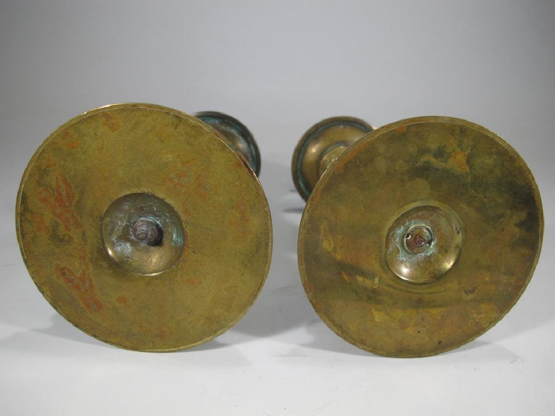 Antique pair of French bronze candlesticks - 5