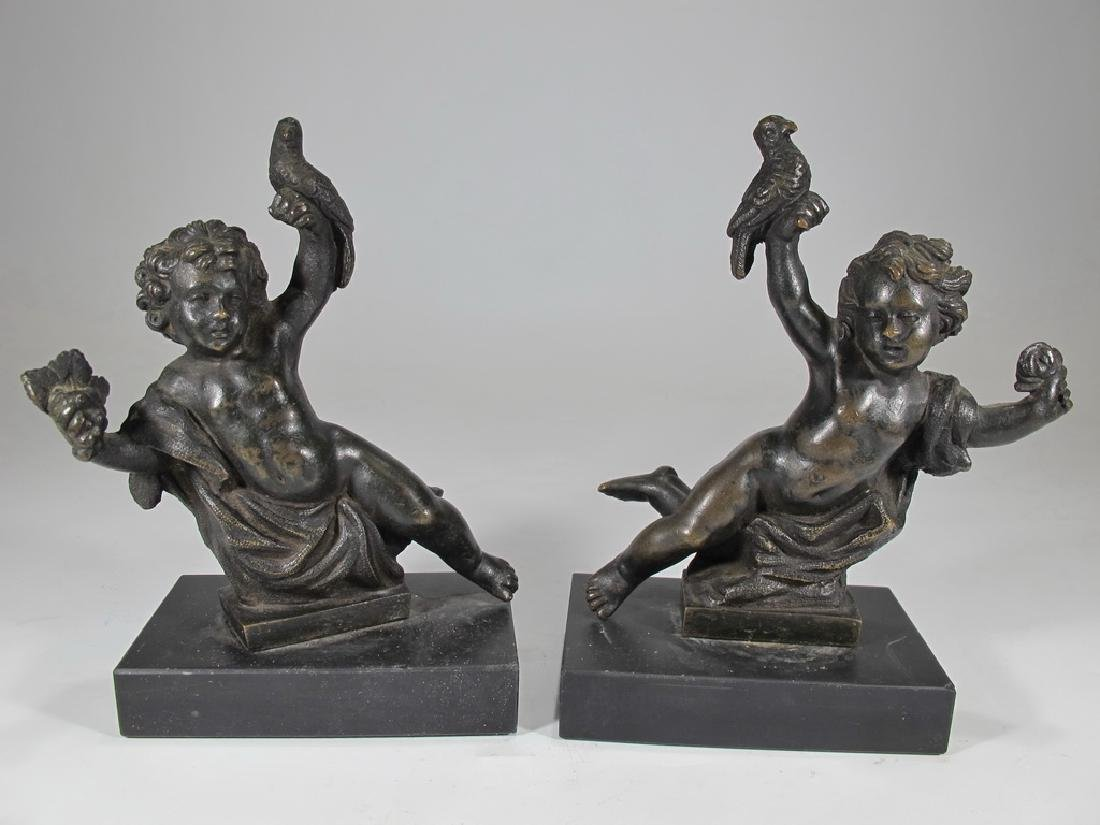 19th C French pair of bronze sculptures