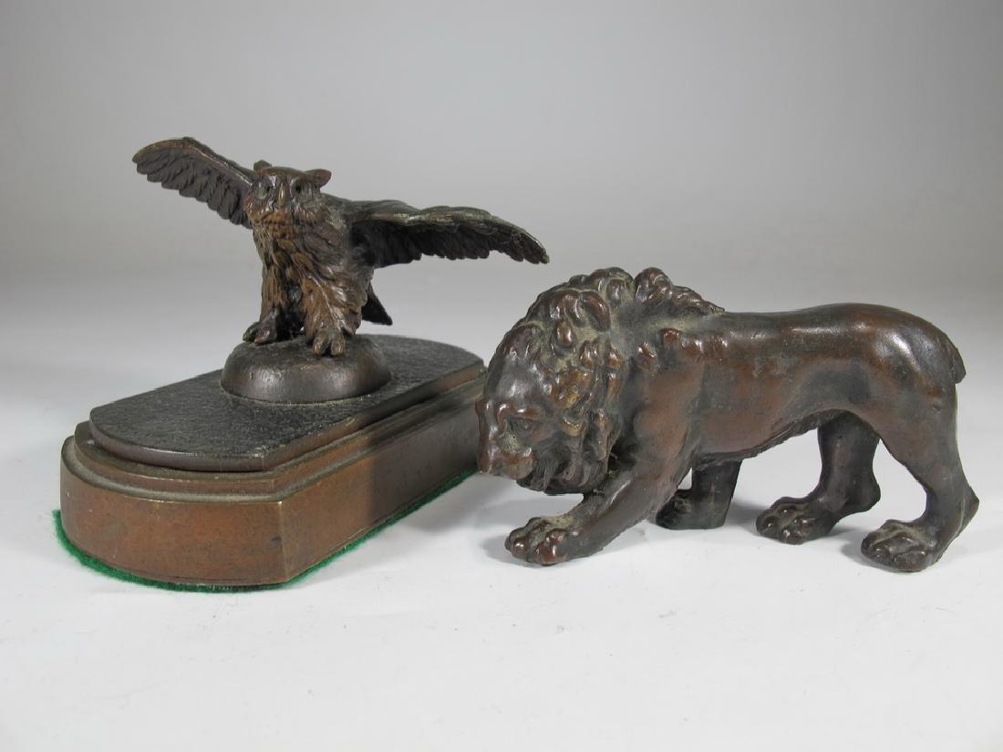 2 Vienna bronze statues, Lion and owl, Austria