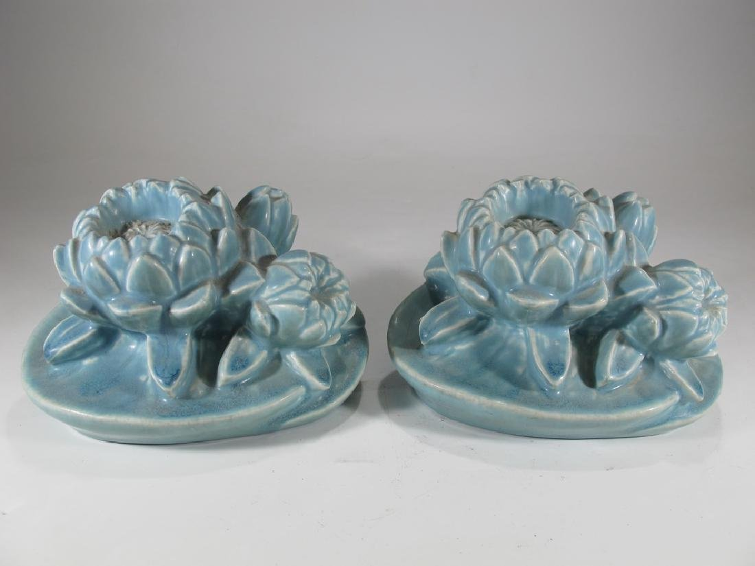 1926 Pair of Rookwood Pottery Water Lily Bookends