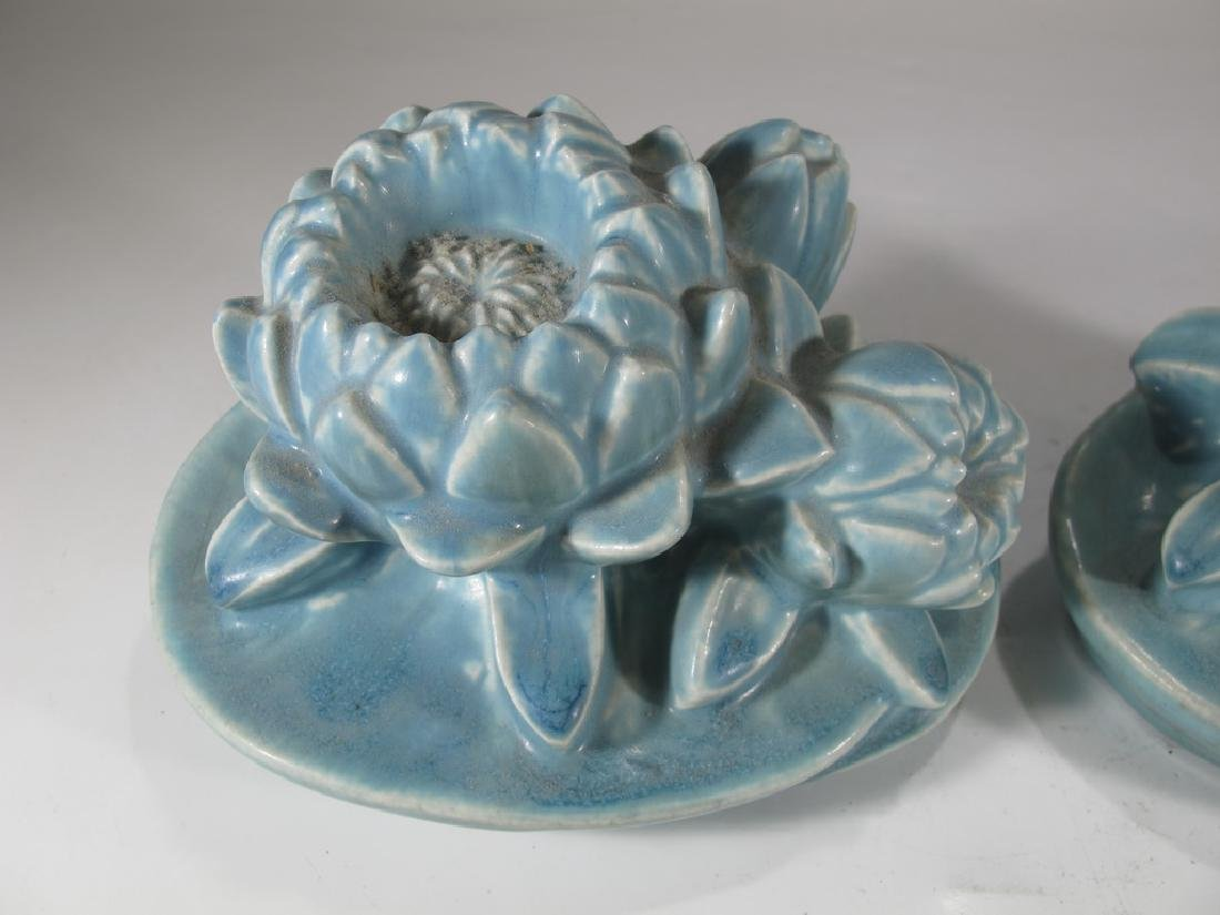 1926 Pair of Rookwood Pottery Water Lily Bookends - 2