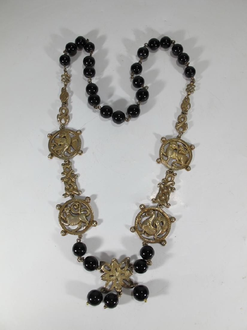 Peruzzi, Boston sterling & onyx necklace
