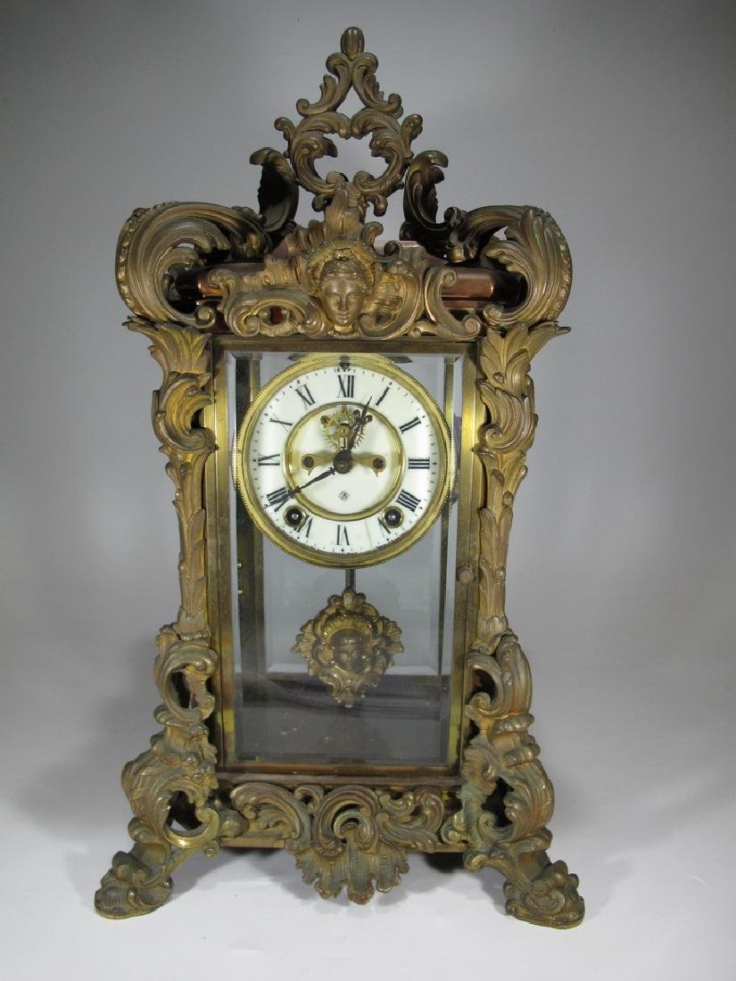 Antique Ansonia Apex crystal regulator model clock