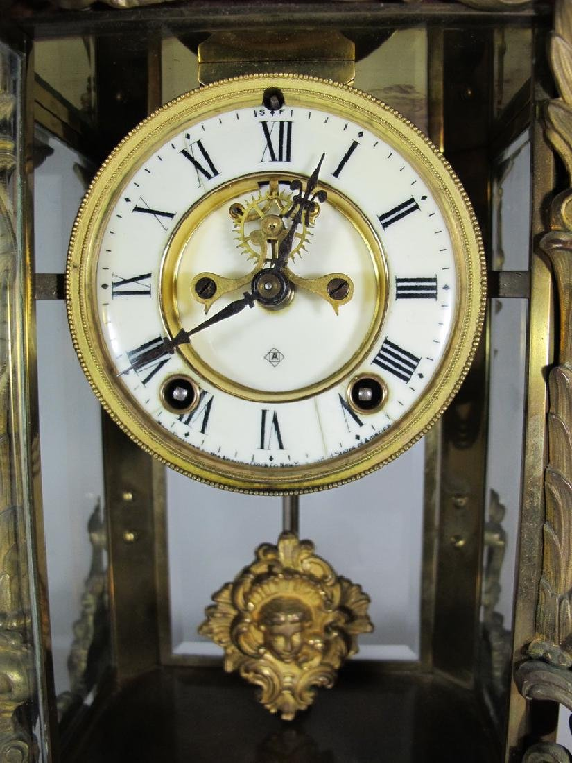 Antique Ansonia Apex crystal regulator model clock - 6