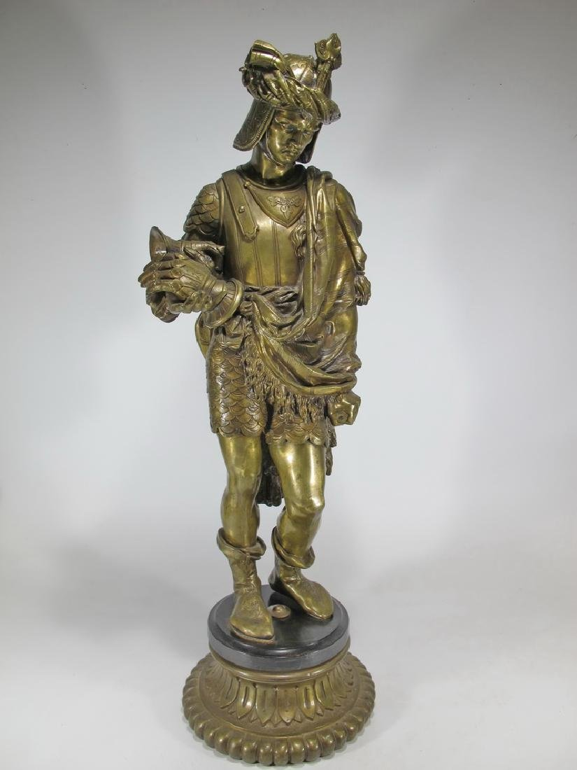 Antique Oriental bronze soldier sculpture