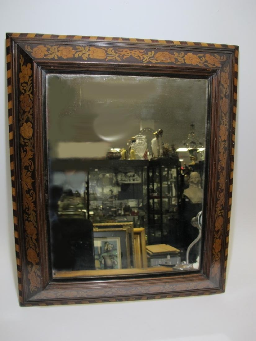 Antique Dutch inlay wood framed mirror