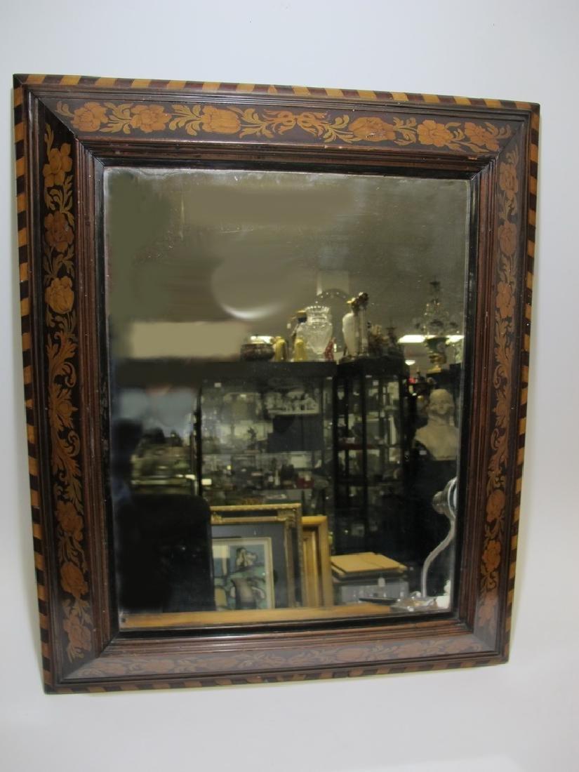Antique Dutch inlay wood framed mirror