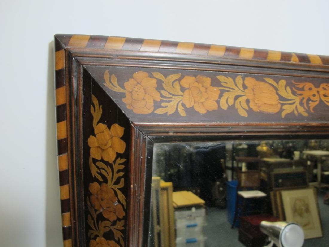 Antique Dutch inlay wood framed mirror - 2