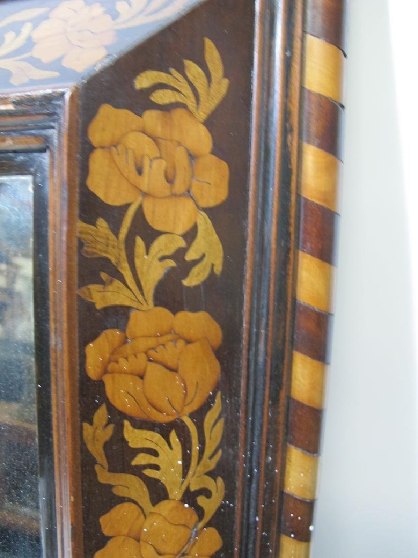 Antique Dutch inlay wood framed mirror - 3
