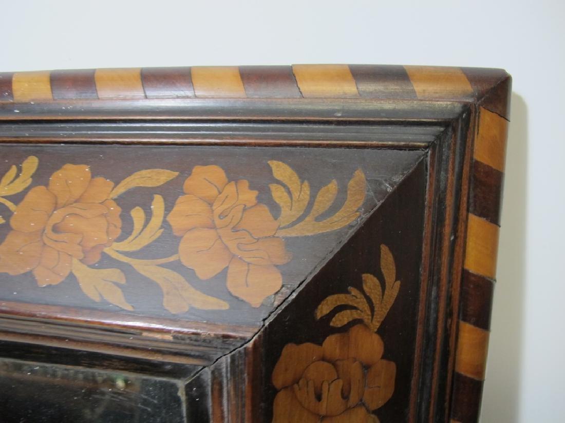 Antique Dutch inlay wood framed mirror - 4