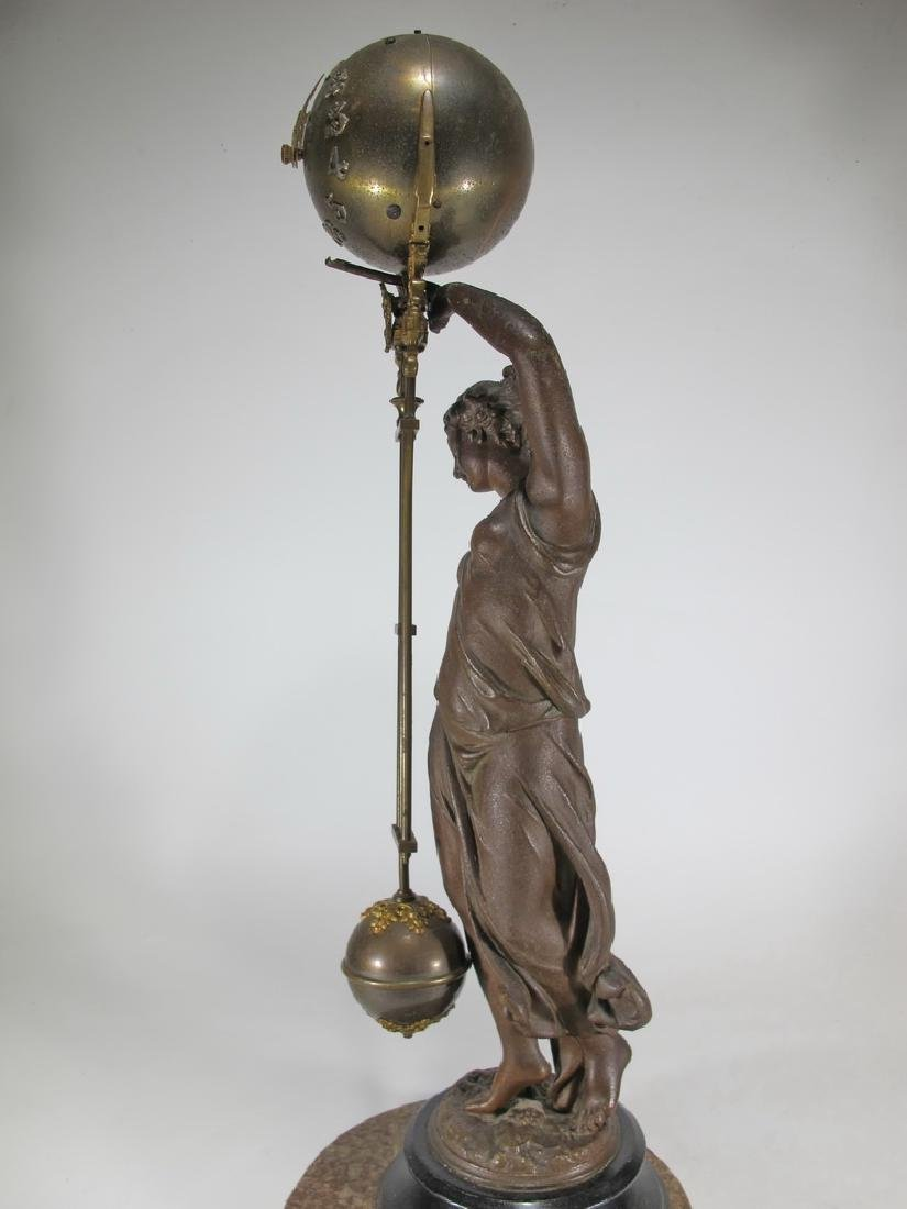 Antique French spelter & bronze swinging clock - 10