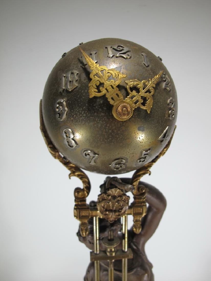Antique French spelter & bronze swinging clock - 2