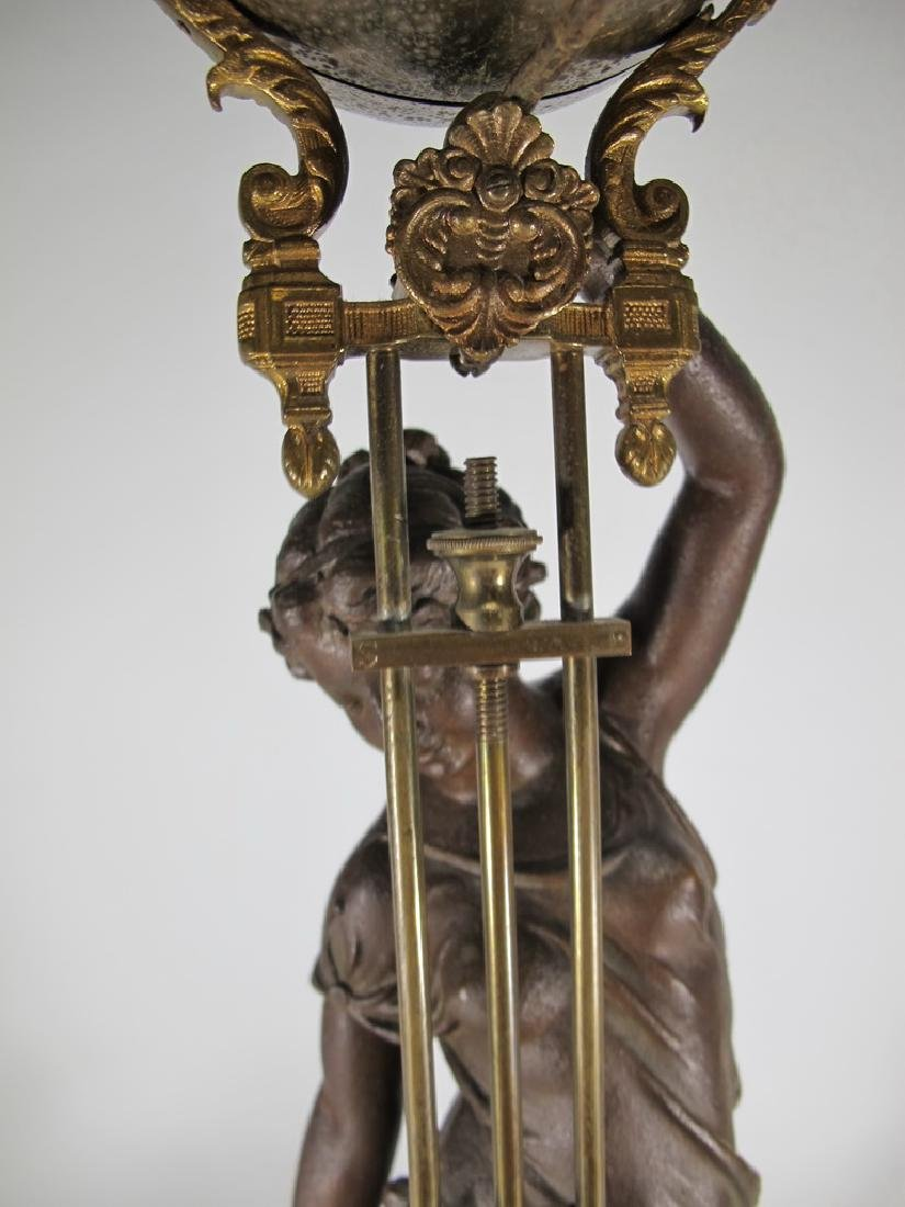 Antique French spelter & bronze swinging clock - 3