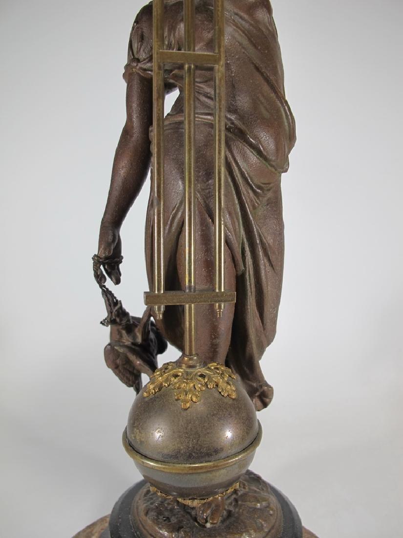 Antique French spelter & bronze swinging clock - 4