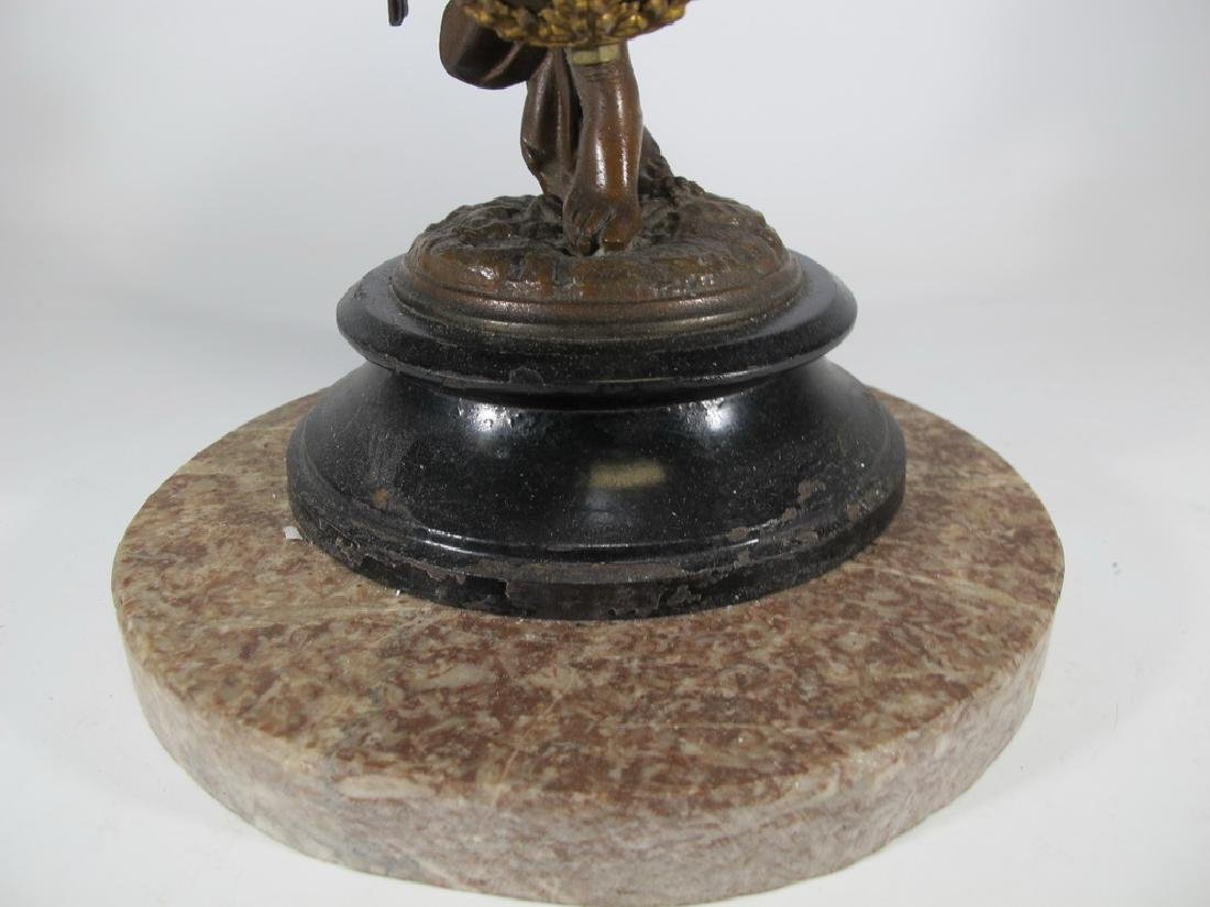 Antique French spelter & bronze swinging clock - 5