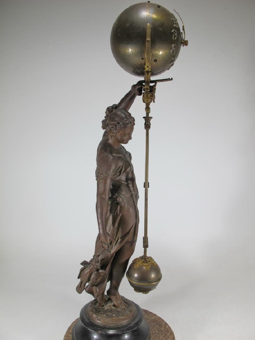 Antique French spelter & bronze swinging clock - 6