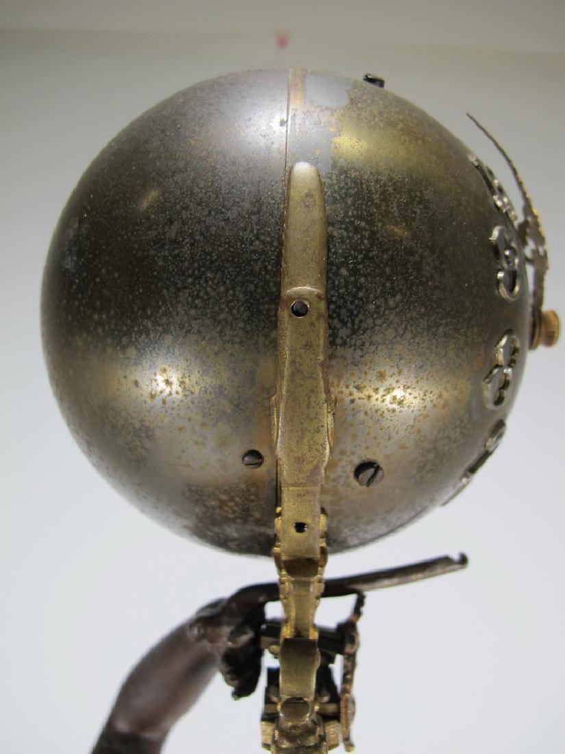 Antique French spelter & bronze swinging clock - 8