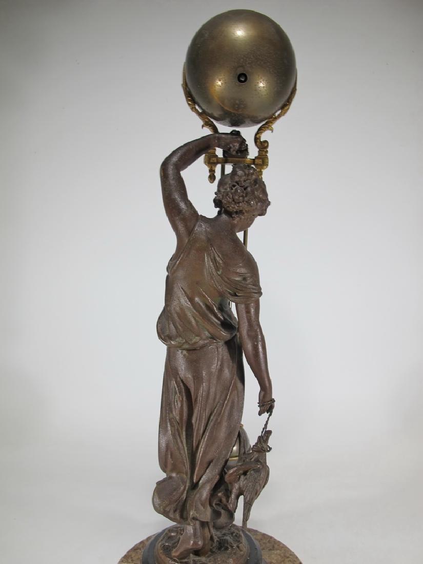 Antique French spelter & bronze swinging clock - 9