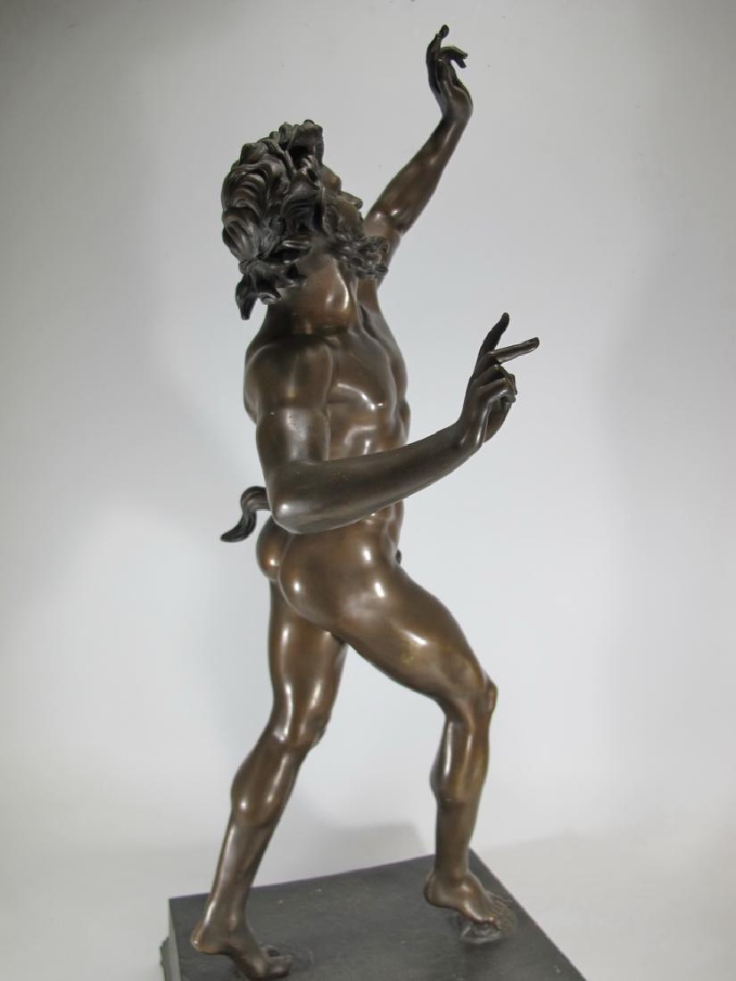 19th C Dancing Faun of Pompeii bronze sculpture - 11
