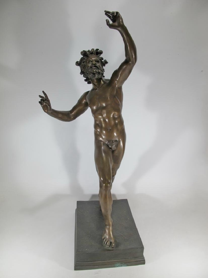 19th C Dancing Faun of Pompeii bronze sculpture