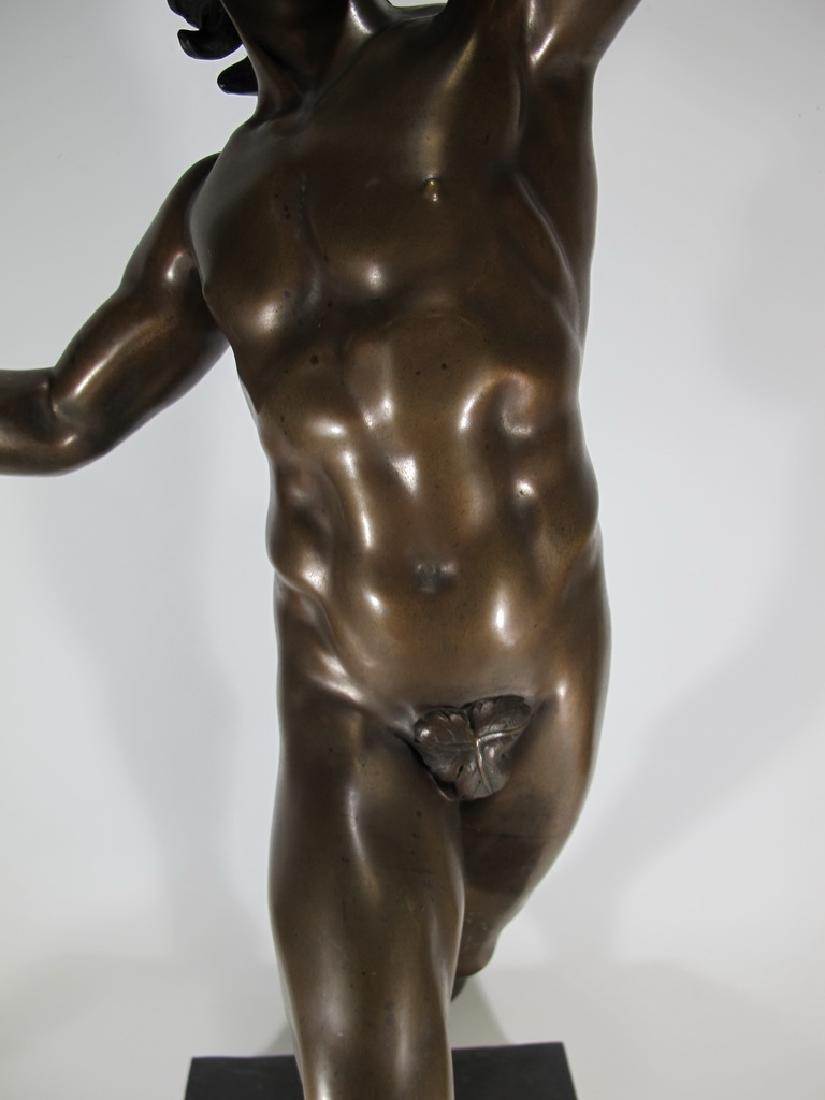 19th C Dancing Faun of Pompeii bronze sculpture - 4