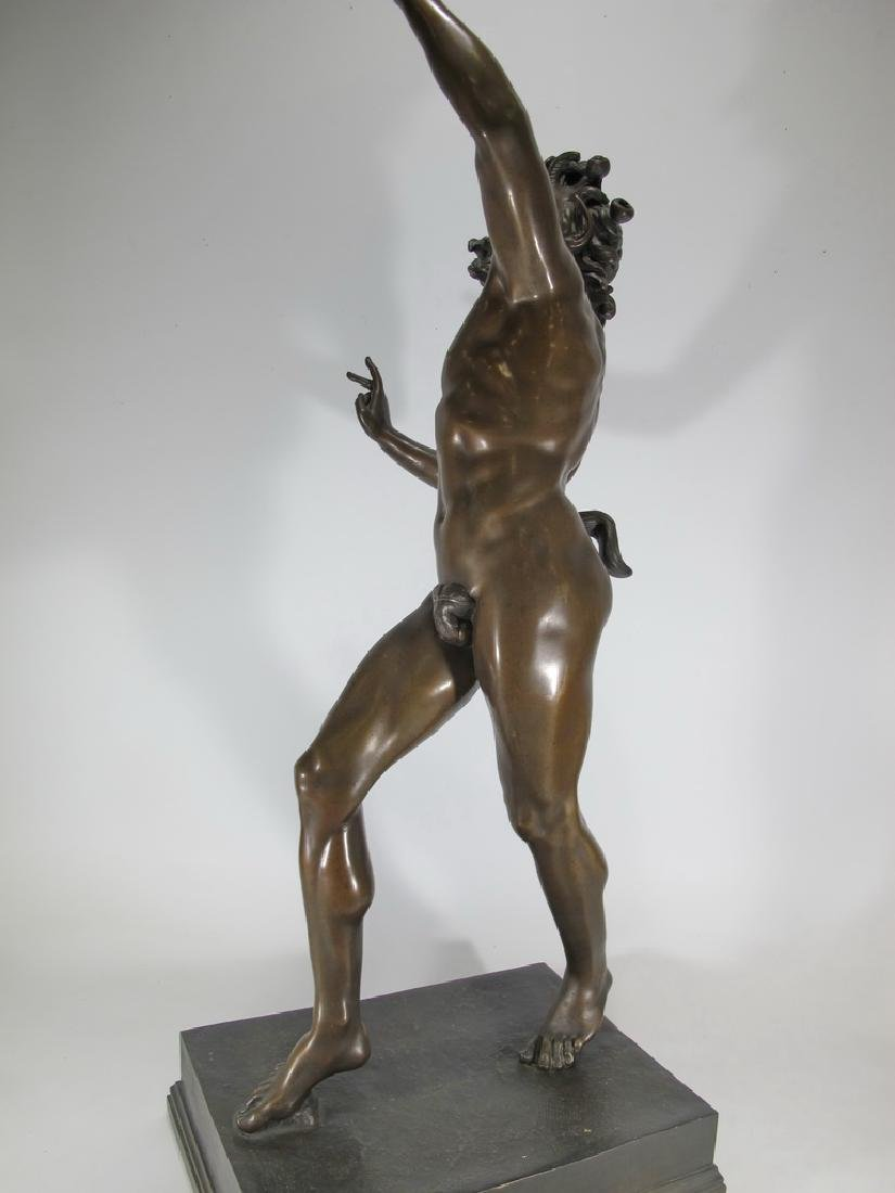 19th C Dancing Faun of Pompeii bronze sculpture - 6