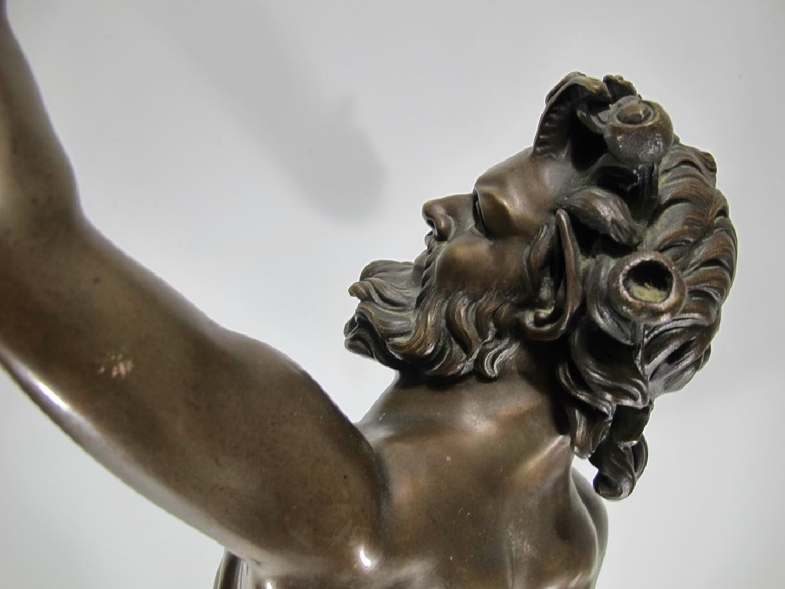 19th C Dancing Faun of Pompeii bronze sculpture - 7