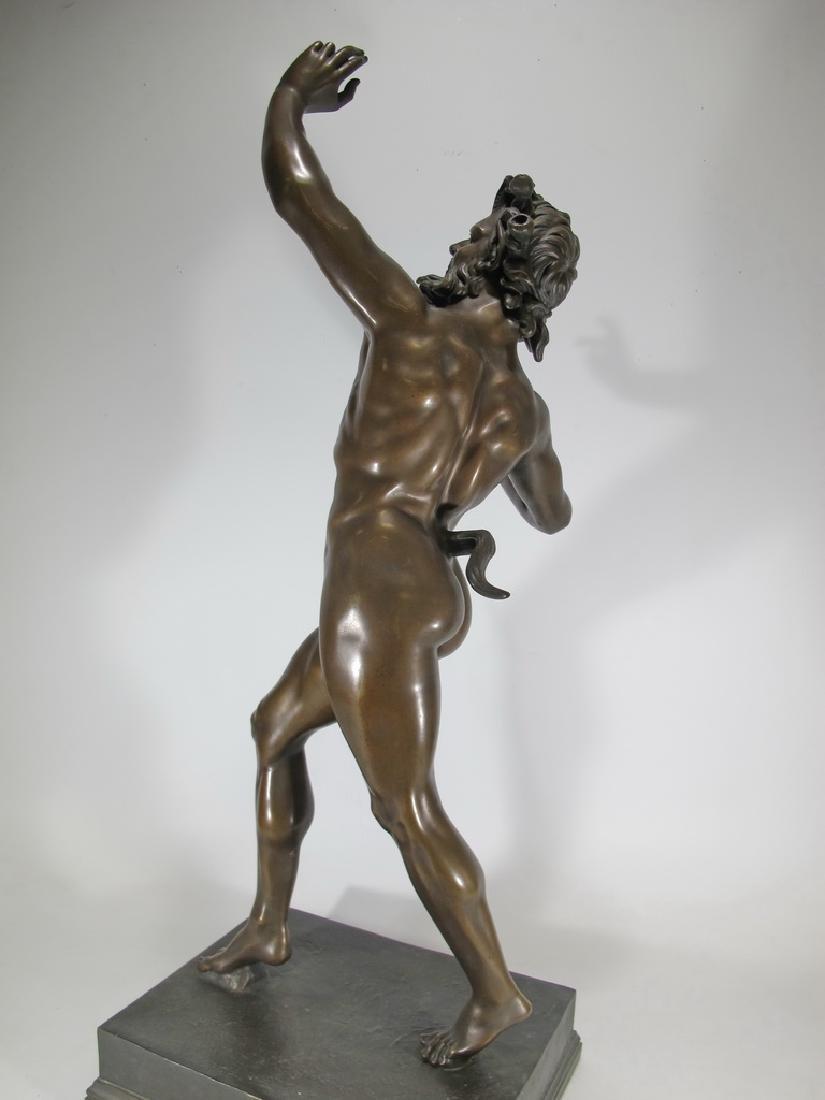 19th C Dancing Faun of Pompeii bronze sculpture - 8