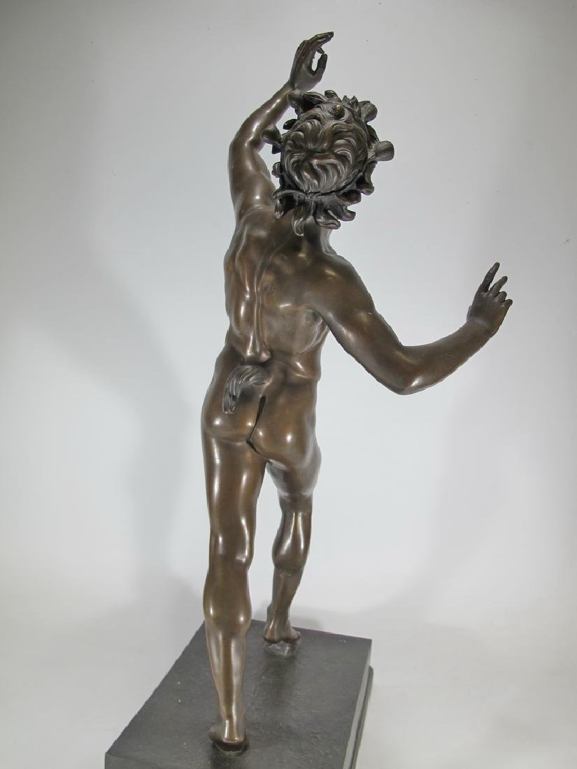 19th C Dancing Faun of Pompeii bronze sculpture - 9