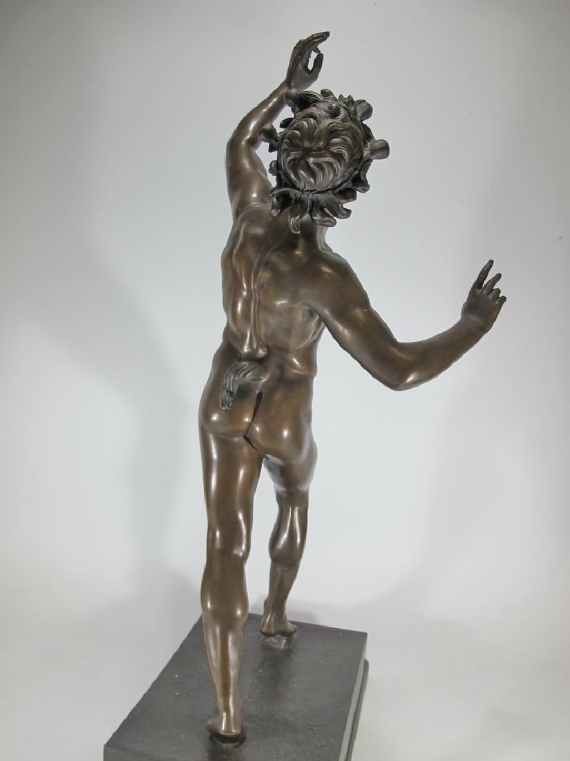 19th C Dancing Faun of Pompeii bronze sculpture - 9