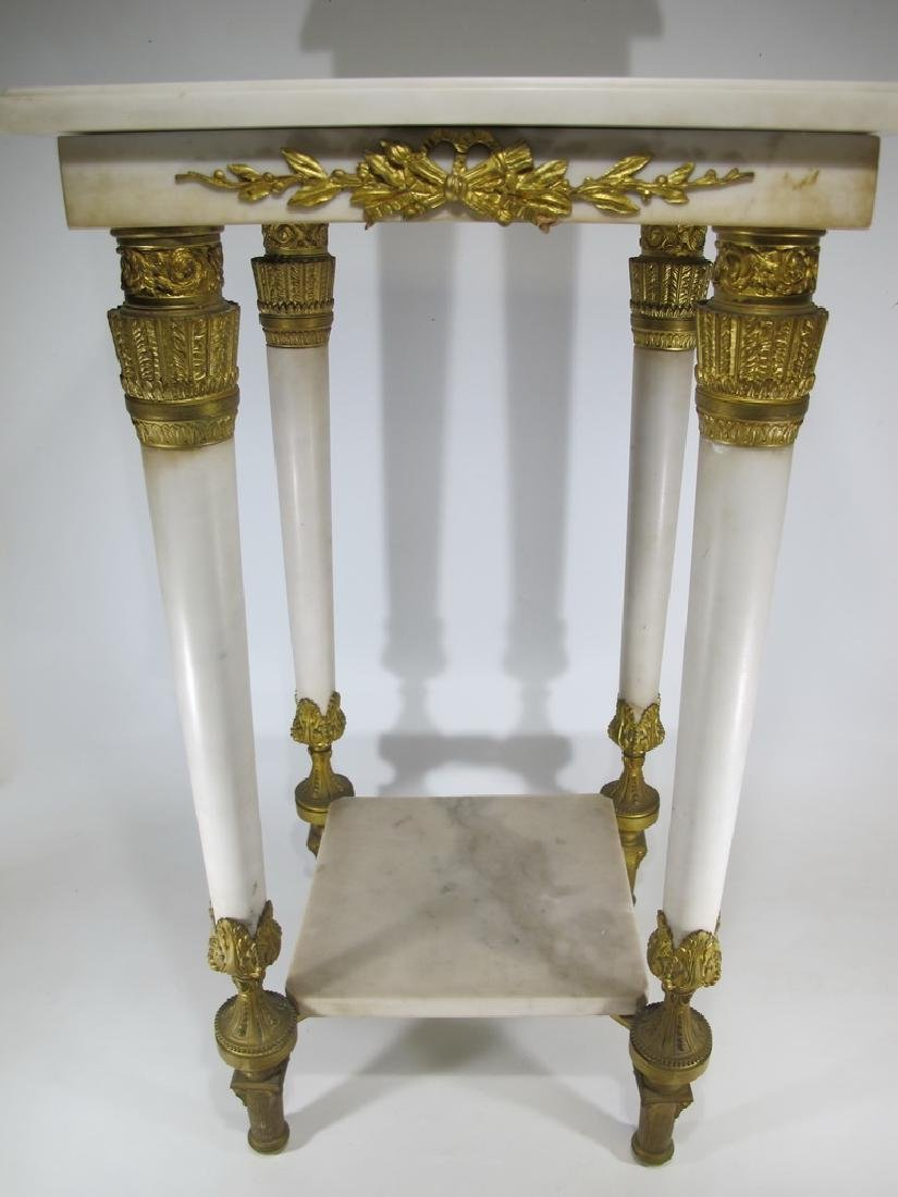 Antique French Empire ormolu carrara marble table
