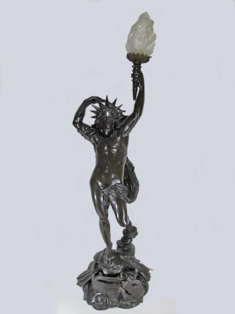 Hippolyte FERRAT (1822-1882) huge bronze sculpture lamp