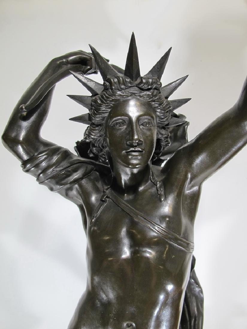 Hippolyte FERRAT (1822-1882) huge bronze sculpture lamp - 4