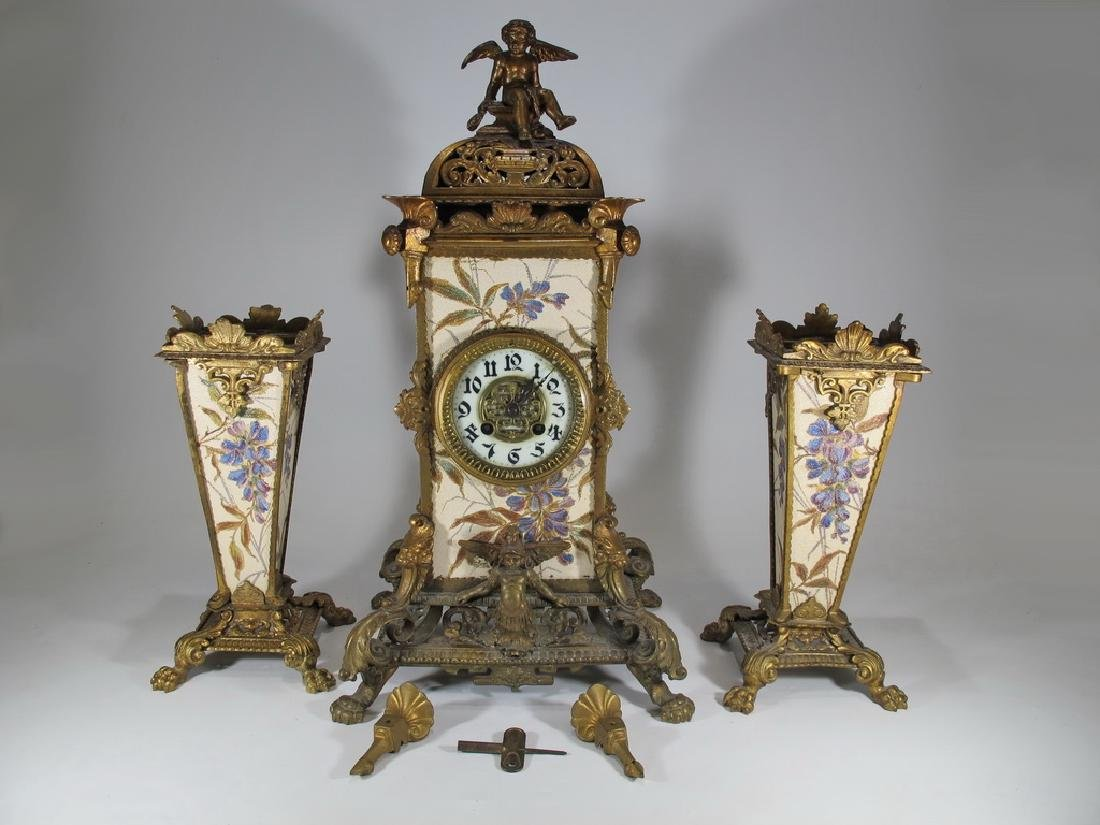Japy Freres Spelter & Pottery Mark Query clock set