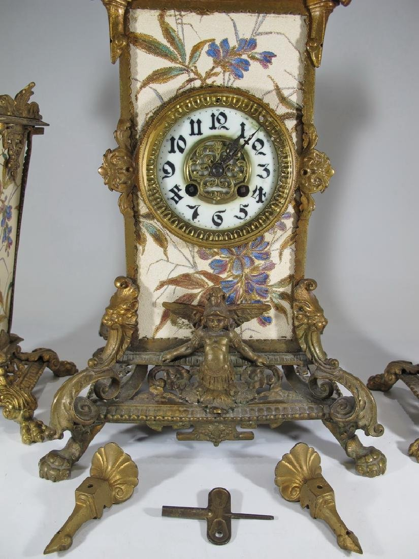 Japy Freres Spelter & Pottery Mark Query clock set - 3