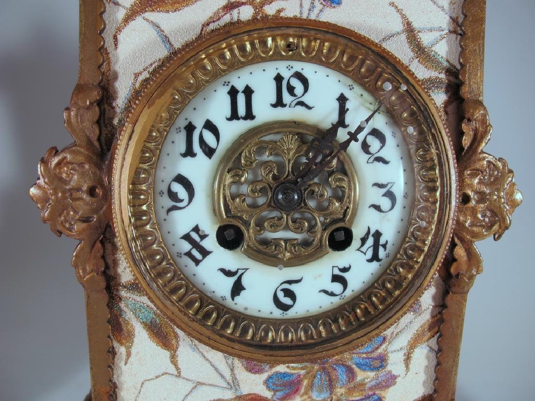 Japy Freres Spelter & Pottery Mark Query clock set - 4