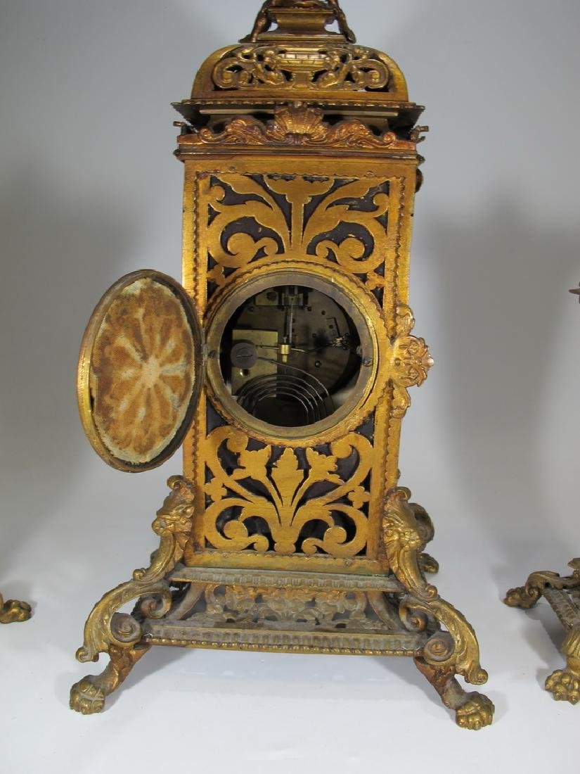 Japy Freres Spelter & Pottery Mark Query clock set - 8