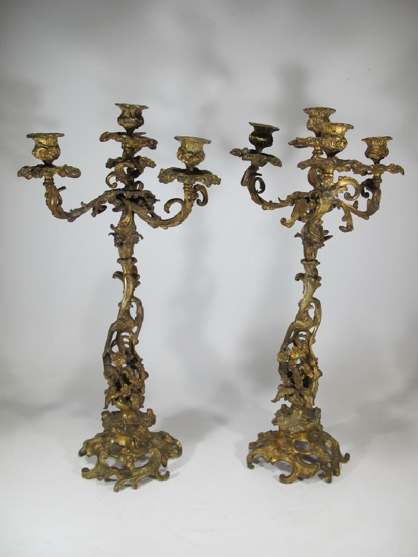 Antique French pair of bronze candelabras