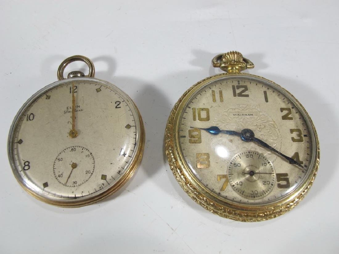 2 Elgin & Waltham 10k & 14k GF pocket watches