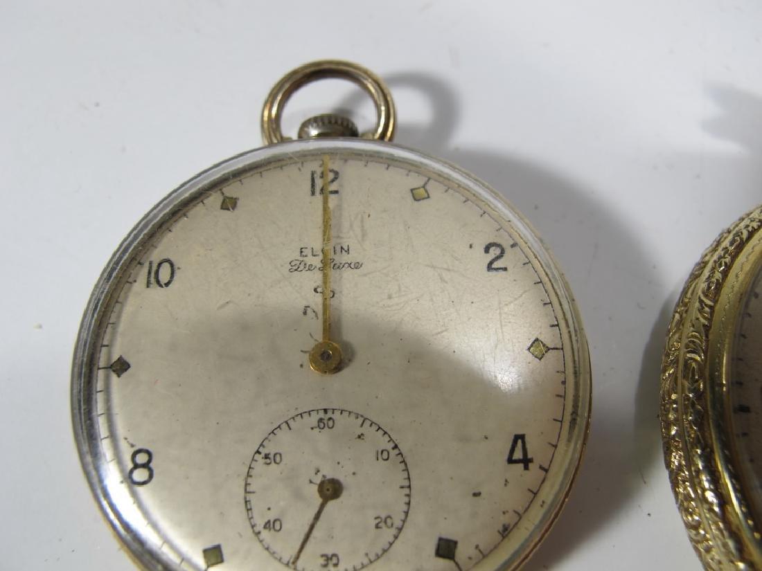 2 Elgin & Waltham 10k & 14k GF pocket watches - 2