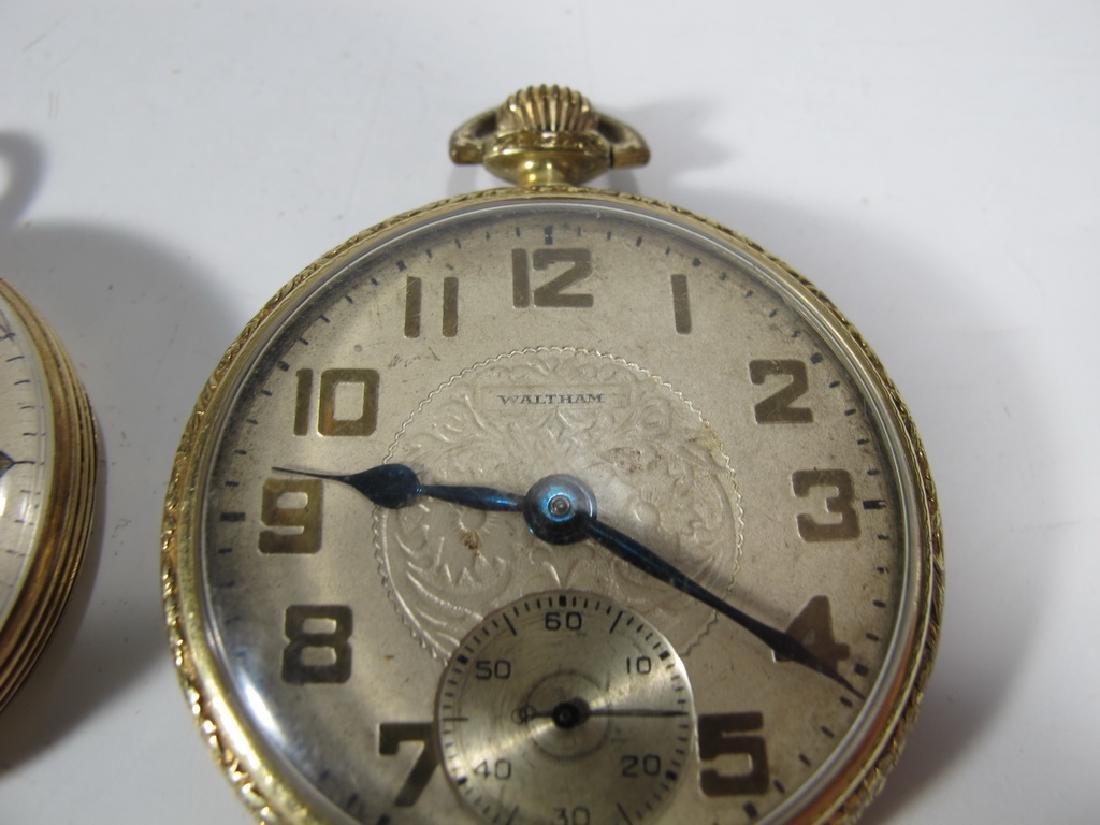 2 Elgin & Waltham 10k & 14k GF pocket watches - 3