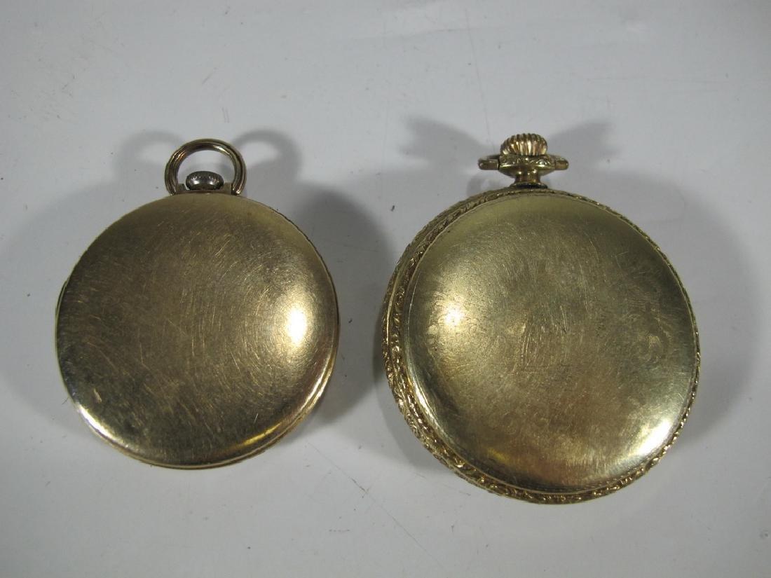 2 Elgin & Waltham 10k & 14k GF pocket watches - 4