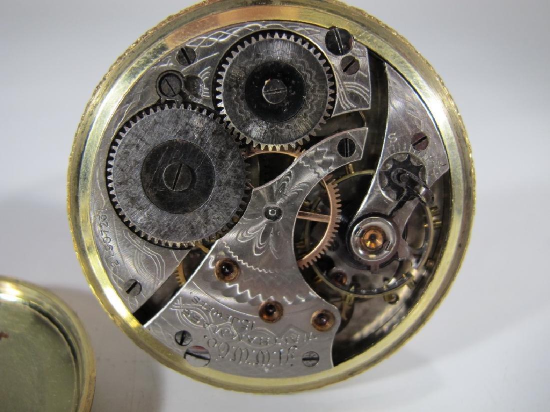 2 Elgin & Waltham 10k & 14k GF pocket watches - 5