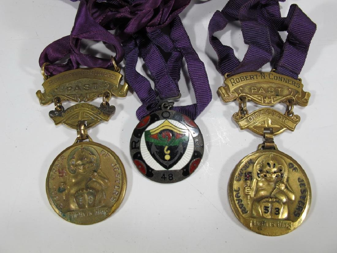 3 The Royal Order of Jesters bronze & enamel medals