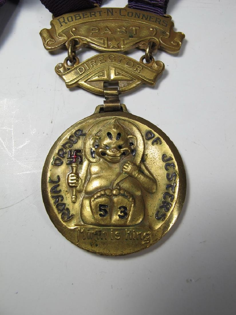 3 The Royal Order of Jesters bronze & enamel medals - 6