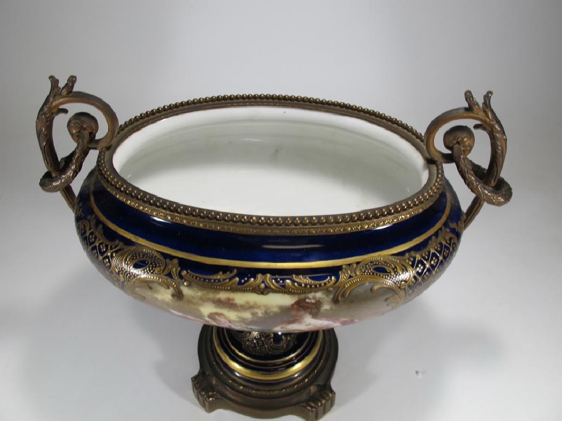 Antique French Sevres porcelain & bronze centerpiece - 2