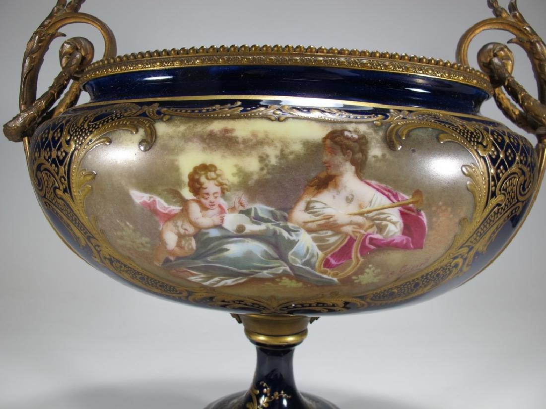 Antique French Sevres porcelain & bronze centerpiece - 3